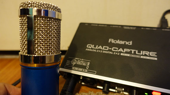 Everything Voiceover Microphone next to Roland Quad-Capture Preamp