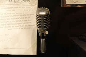 Old Voice Over Microphone near Telegram